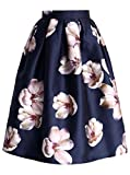 Friendshop Floral Print Pleated Organza Knee Length Sheer Skirt