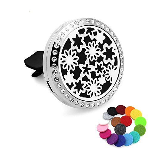 Car Air Freshener Aromatherapy Essential Oil Diffuser-Rhinestones Sky Stars Stainless Steel Locket,17 Refill Pads - Therapy Rhinestone