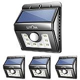 Litom Solar Lights 8 LED Wireless Waterproof Outdoor Light Motion Sensor Security Lights for Patio Deck Yard Garden-4 Pack
