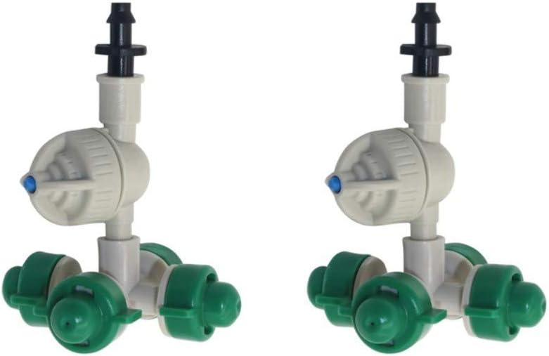 XLTWKK 5 Juegos de Boquilla de pulverización Cruzada de púas de 4 mm con Boquilla de atomización de suspensión antigoteo pulverizador de humidificación de Invernadero