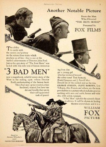 1926 Ad Fox Films 3 Bad Men Ford Tom Santchi Frank Campeau Olive Borden Tellegen - Original Print - Tom Ford William