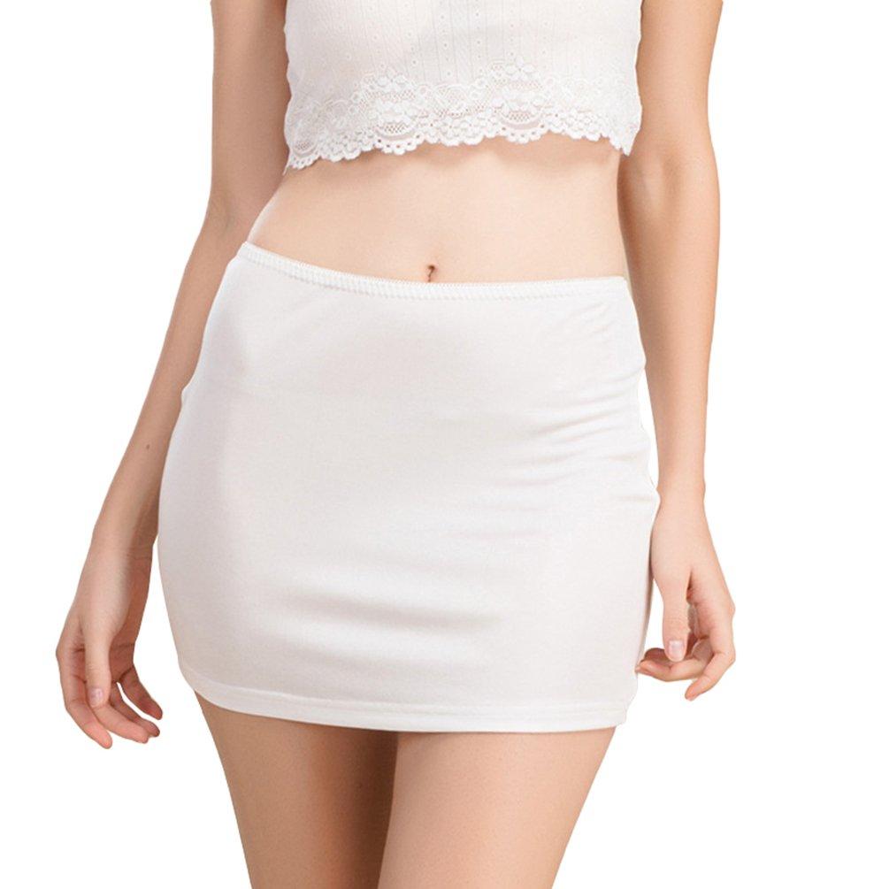 Dexinx Women Soft Elasticated Waist Short Length Under Skirt Slip Summer Solid Color Comfortable Breathable Mini Silk Skirt