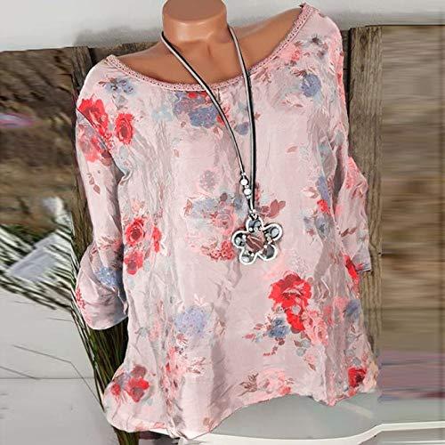 Ample Chemise T Loisirs kingwo Rose Shirt Manches Dentelle Shirt Femme Haut Longues imprim Floral T BOAn7O