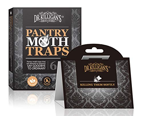Dr. Killigan's Premium Pantry Moth Traps with Pheromone Attractant | Safe, Non-Toxic with No Insecticides (6, Black Traps) -