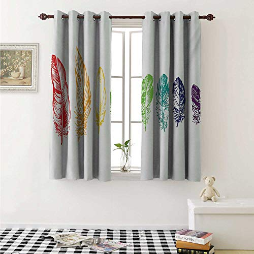 - shenglv Nature Waterproof Window Curtain Collection of Ink Drawing Style with Rainbow Feathers Natural Artwork Print Curtains Living Room W55 x L45 Inch Red Green Purple
