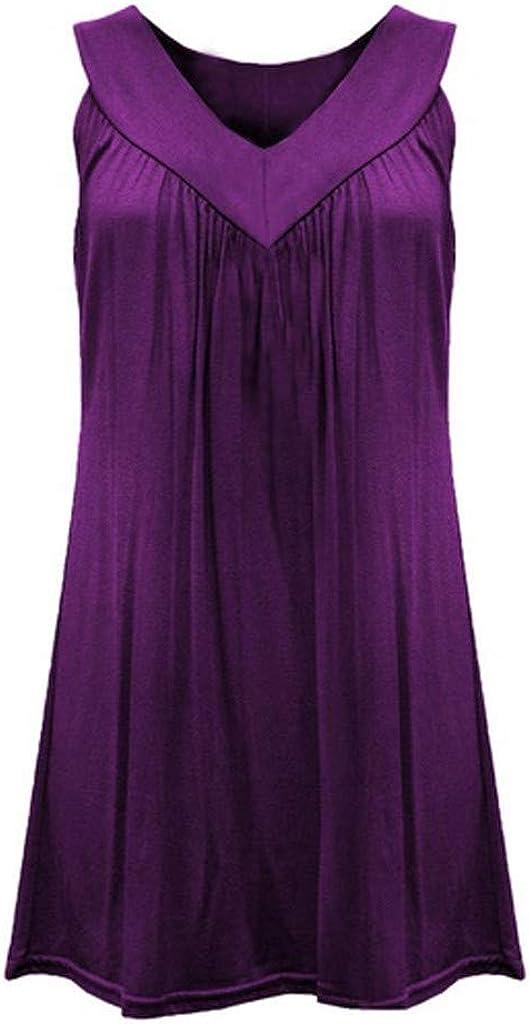 HULKY Femme Robe D/ébardeurs Grande Taille 2020 Robe D/Ét/é D/écontract/ée Col en V Plaine Solide T-Shirt sans Manches Mini-Robe Courte