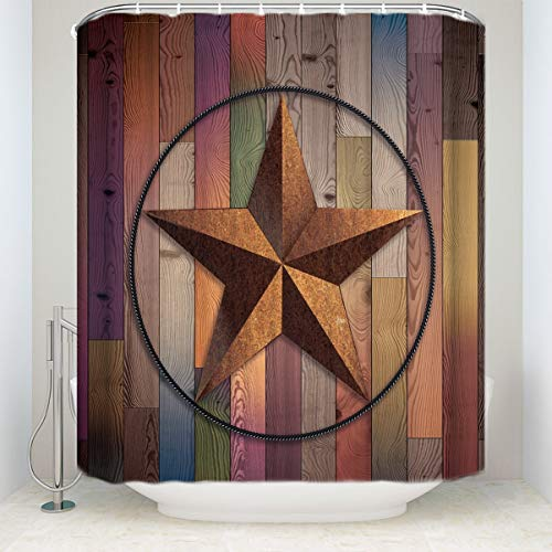 Dongingp Western Country Southwestern Primitive Rustic Wooden Lone Star Five Point Antiqued Look Army Military Armed Forces Print Home Accent Polyester Fabric Bathroom Shower Curtain 72x72inch -
