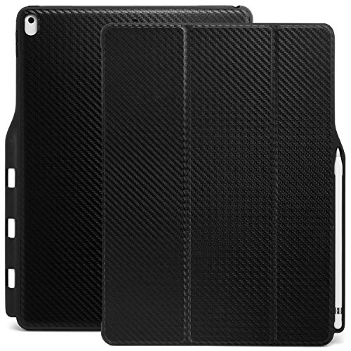 KHOMO iPad Pro 12.9 Inch Case with Pen Holder  ( 1st and 2nd Gen 2016 & 2017) - Dual  Super Slim Cover with Rubberized Back and Smart Feature ( Sleep / Wake ) - Carbon Fiber Black