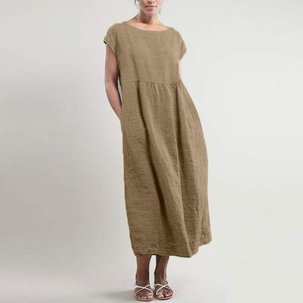 ee022d47190 Amazon.com: Women's Solid Sleeveless O-Neck Maxi Pockets Linen Loose ...