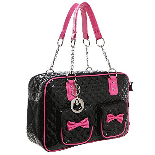 MG Collection Fashion Black Faux Patent Leather Quilt Soft Side Dog & Cat Travel Pet Carrier Tote Handbag (Faux Leather Pet Carrier)