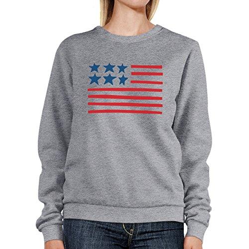Printing 365 gris Sweatshirt Usa Flag Flag Un Manga o tama Sudadera Mujer larga 4HwdHqA
