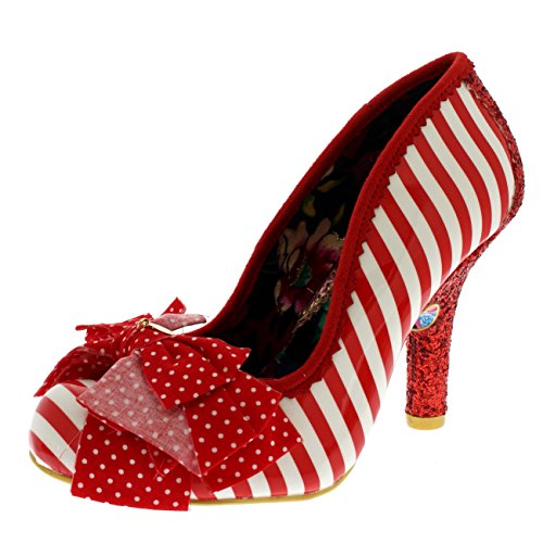Irregular Choice Stripes (Irregular Choice Womens Ascot Stripe Heeled Glitter Evening Court Shoe - Red/White - 8)