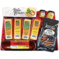 Specialty Gift Basket - features Smoked Summer Sausages, 100% Wisconsin Cheeses, Crackers, Pretzels & Mustard. Best Christmas Gift for the Holiday Season.