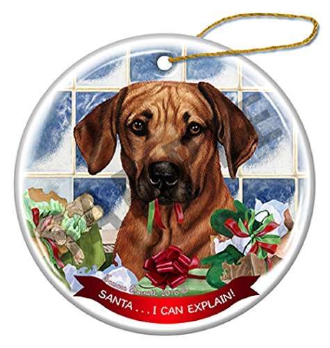 Dog Breeds in Santa Hats Porcelain China Hanging Howliday Ornament - Made in the USA (Rhodesian Ridgeback II) ()