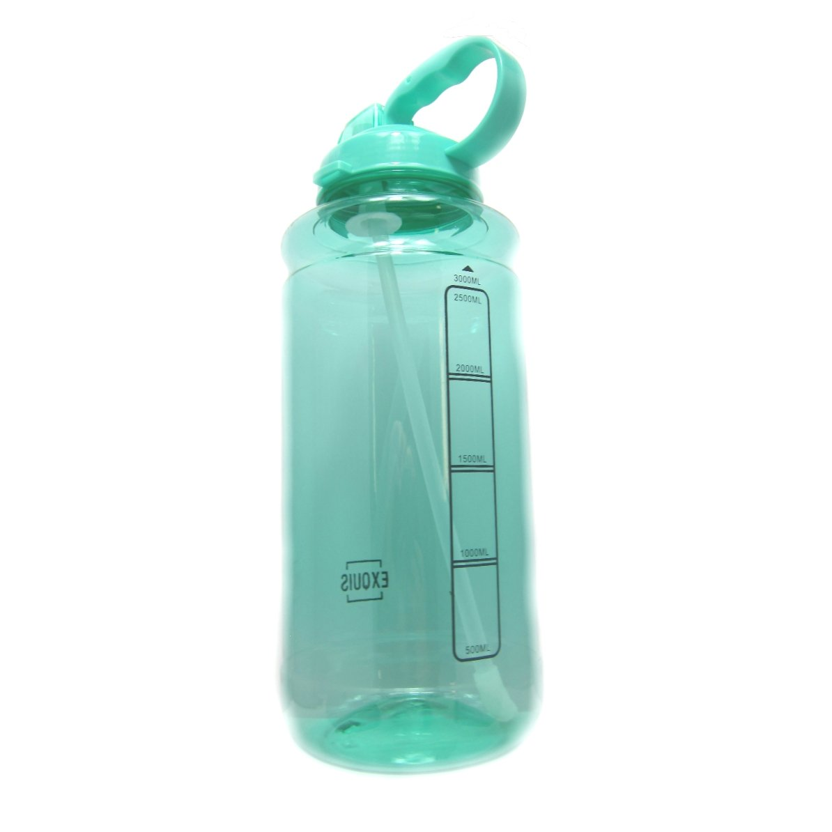 GHP 101oz 3000ml Large Outdoor Water Bottle w/Handle & Straw - BPA Free Tritan Plastic - Leak Proof Push Button Lid - Eco-Friendly for Gym, Yoga, Camping, Running, Cycling, and Camping (Mint)