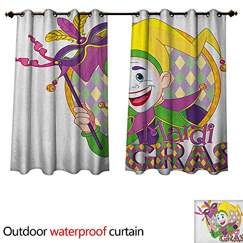 Anshesix Mardi Gras Home Patio Outdoor Curtain Cartoon Design of Mardi Gras Jester Smiling and Holding a Mask Harlequin Figure W72 x L72(183cm x 183cm) - Lame Harlequin Mask