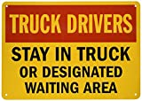 """SmartSign Aluminum Sign, Legend """"Stay in Truck or Designated Waiting Area"""", 10"""" high x 14"""" wide, Black/Red on Yellow"""