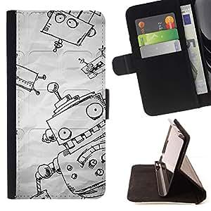 For HTC Desire 820 Case , Divertidos papel Sketch Boy Niños- la tarjeta de Crédito Slots PU Funda de cuero Monedero caso cubierta de piel