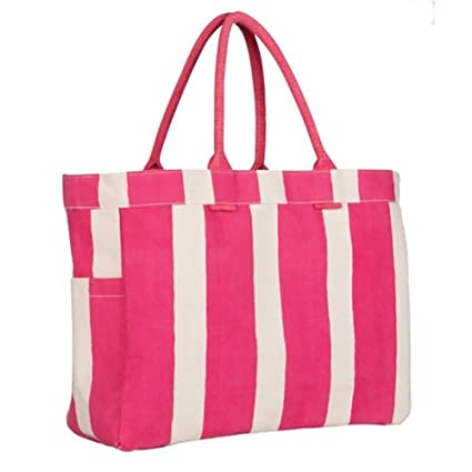 Amazon Com Rock Flower Paper Cotton Pink Stripe Carryall Tote