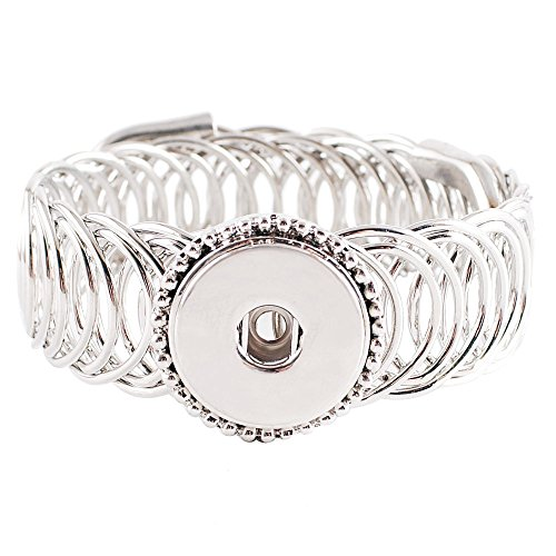 My Prime Gifts Interchangeable Snap Jewelry Wrap Bracelet Adjustable to Any Size Holds one 18-20mm snap -