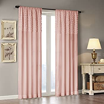 Amazon Com Rose Pink Sheer Window Panel Curtain 2 By