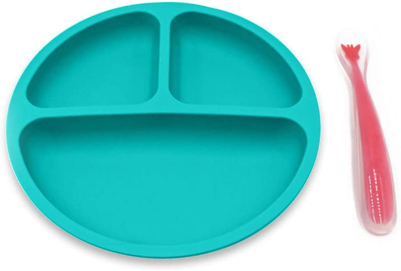 BESTonZON 3PCS Silicone Divis/é Toddler Assiettes Smile Face Design Incassable Enfants D/îner Bol Plats