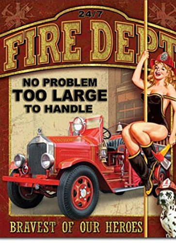 Fire Department No Problem Too Large Tin Sign 13 x 16in