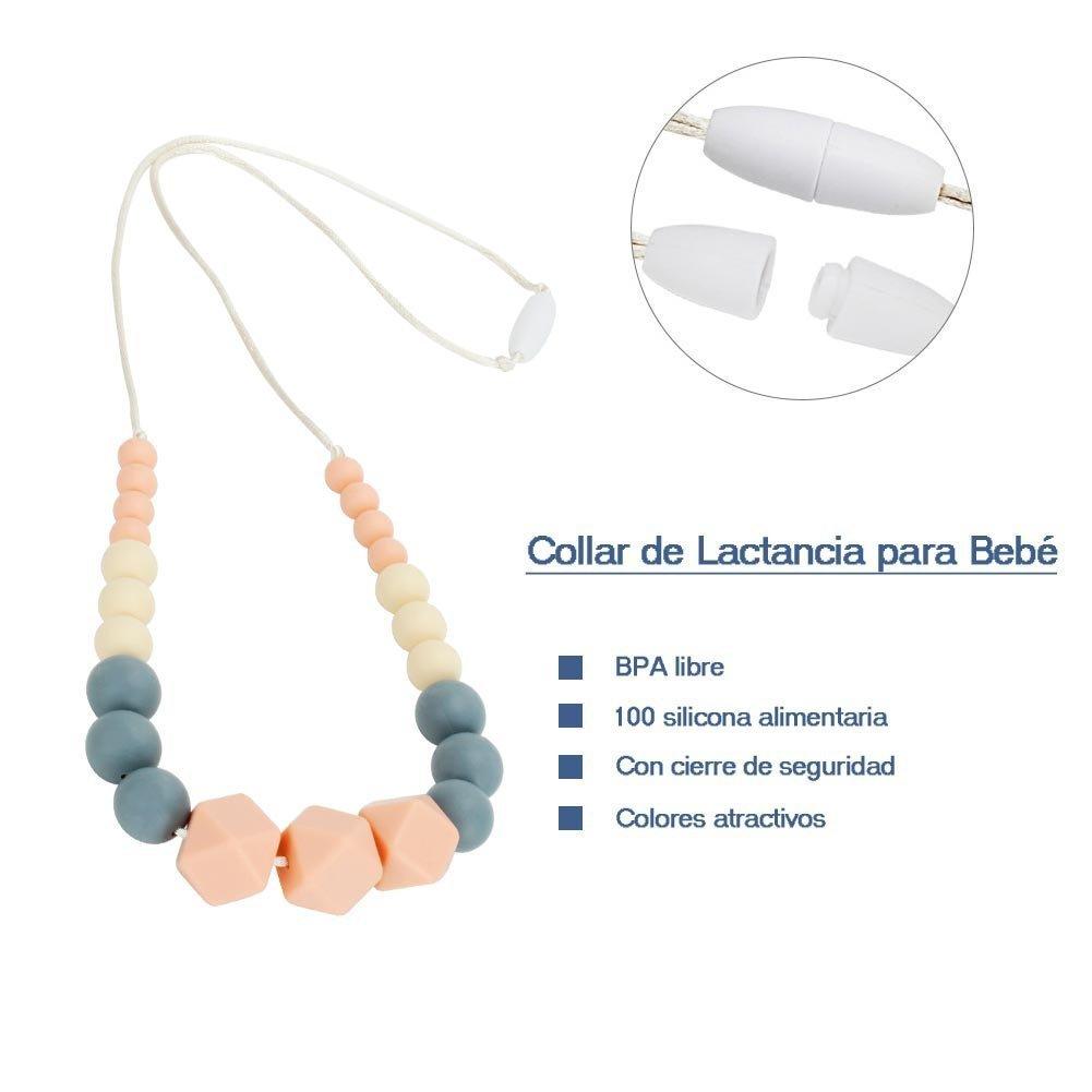 Collar de Lactancia para Beb/é Mordedor de Silicona para Dentici/ón Material Antibacterial sin BPA con Cierre de Seguridad Color Rosa y Gris