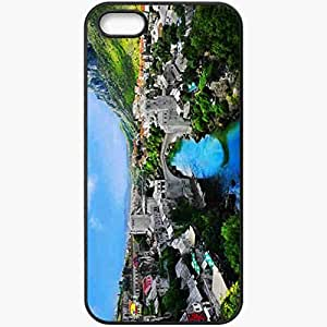 Unique Design Fashion Protective Back Cover For iPhone 5 5S Case Mountain Village Landscape Nature Black