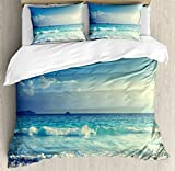 Ambesonne Ocean Duvet Cover Set Queen Size, Tropical Island Paradise Beach at Sunset Time with Waves and the Misty Sea Image, Decorative 3 Piece Bedding Set with 2 Pillow Shams, Cream Turquoise