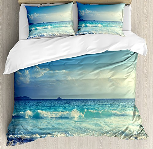 - Ambesonne Ocean Duvet Cover Set King Size, Tropical Island Paradise Beach at Sunset Time with Waves and The Misty Sea Image, Decorative 3 Piece Bedding Set with 2 Pillow Shams, Cream Turquoise