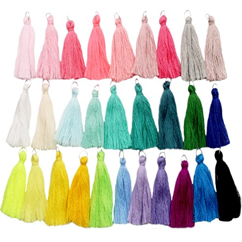 Handmade DIY Tassels 29Pcs Multicolored Mini Tassels for Earring Jewelry Making,DIY Craft Accessory (2.1 Inches)