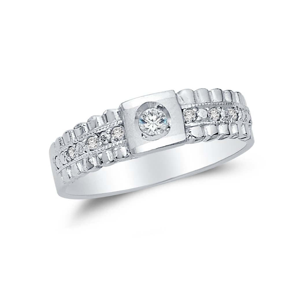 Mens Solid 14k White Gold Wedding Band with Side Stones CZ Cubic Zirconia