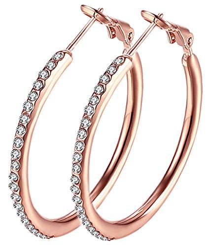 Hoop Earrings, Stainless Steel Womens Cubic Zirconia Earrings, Rhinestone Girls Earings ( not allergies)