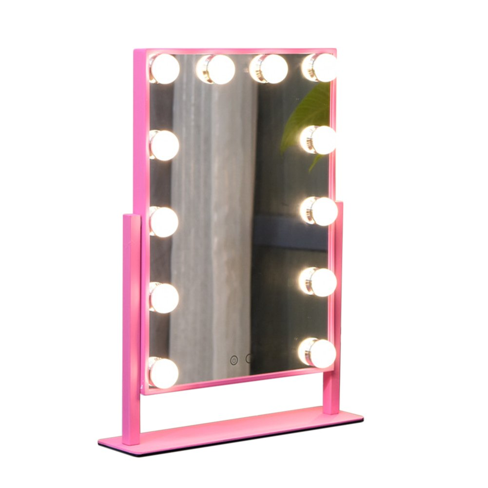 Geek-House Tabletops Lighted Makeup Vanity Mirror Hollywood Style LED Bulb & Dimmer USB Powered Valentine's Day Gift Pink