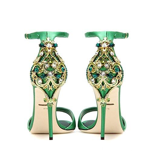 Estilete sandalias de verano de diamantes ultra tacones altos Green