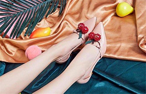 YEEY Verano de tacón alto punto cerrado sandalias de cuero dedo del pie en los zapatos de la corte para las mujeres oficina al aire libre Pink
