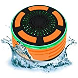 Best Choice Products Portable Waterproof Floating Bluetooth Speaker w/FM Radio, Microphone, LED Lights - Orange