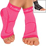 TechWare Pro Ankle Brace Compression Sleeve Relieves Achilles Tendonitis, Joint Pain. Plantar Fasciitis Foot Sock with Arch Support Reduces Swelling & Heel Spur Pain. Injury Recovery for Sports.
