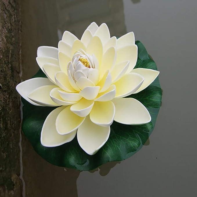 display08 Flor de Loto Artificial, Flotante de Agua de Lirio para jardín, Estanque, pecera, decoración de Planta: Amazon.es: Hogar