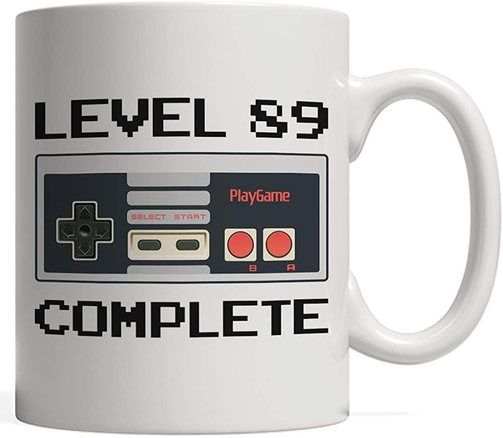 Nivel 89 completo, taza de cumpleaños del jugador | Aniversario del controlador del amante de los videojuegos - Ochenta y nueve Regalos de cumpleaños de 89 años para adultos, abuela abuelo