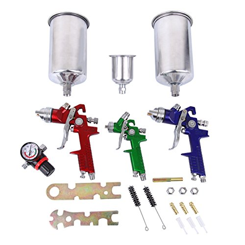 HH Limited HVLP Spray Gun Set - 3 Sprayguns with Cups Auto Paint Air Regulator & Kit Basecoat Car Primer Clearcoat by HH Limited (Image #1)