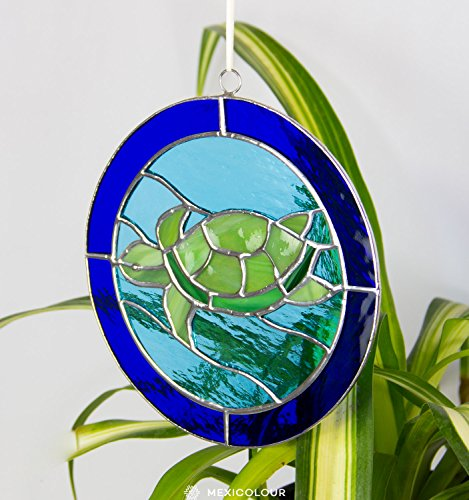 Handcrafted Stained Glass Suncatcher (Stained Glass Panel Tiffany-Style Turtle Tortoise Sea Beach House Suncatcher)