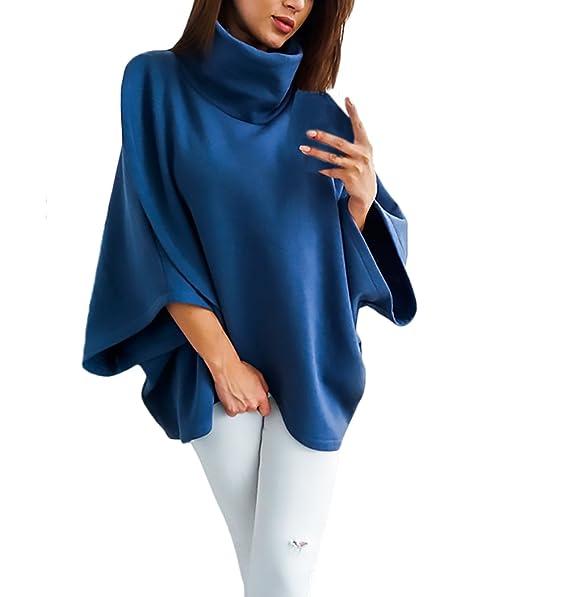 Las Mujeres Sudaderas Invierno Elegante Manga Larga Cuello Alto Tops Cálido Sweatshirt Sueter Anchas Color Sólido