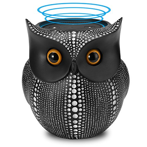APPS2Car Owl Holder [6 inch Tall] for Echo Dot 2nd 1st Generation Speaker, Crafted Dots Owl Case Stand for Amazon Alexa Round Dot for Home Decor (Black) -