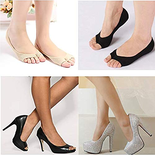Toeless, No Show, Low Cut, Peep Toe, Hidden Silicone Pad Liner Cotton Socks by JERN (Black and Beige)