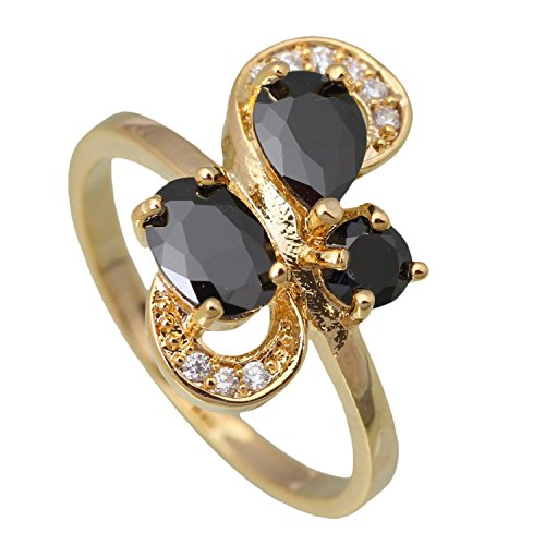 [Slyq Jewelry Famous New Ring Black Topaz Fashion Yellow Gold Plated Ring size 6 6.5 7 7.5 8 9 R396] (Famous Trios Costumes)
