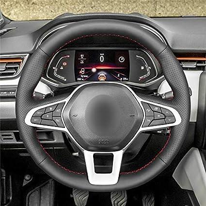 f/ür Renault Clio 5 2019-2020 Zoe 2019-2020 QOHFLD Lenkradabdeckung Anti-Rutsch-Atmungs Schwarz Echtes Leder Hand n/ähen Anti-Rutsch-Auto Lenkradbezug