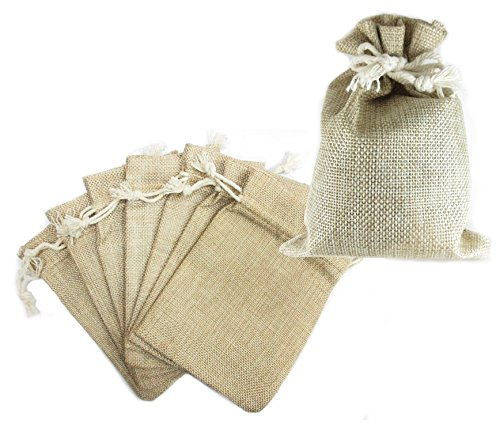 Ovee Lando Natural Color Burlap Bag with Drawstring Closure for Arts & Crafts Projects, Gift Packaging, Presents, Snacks & Jewelry (16 Pack) (4.5