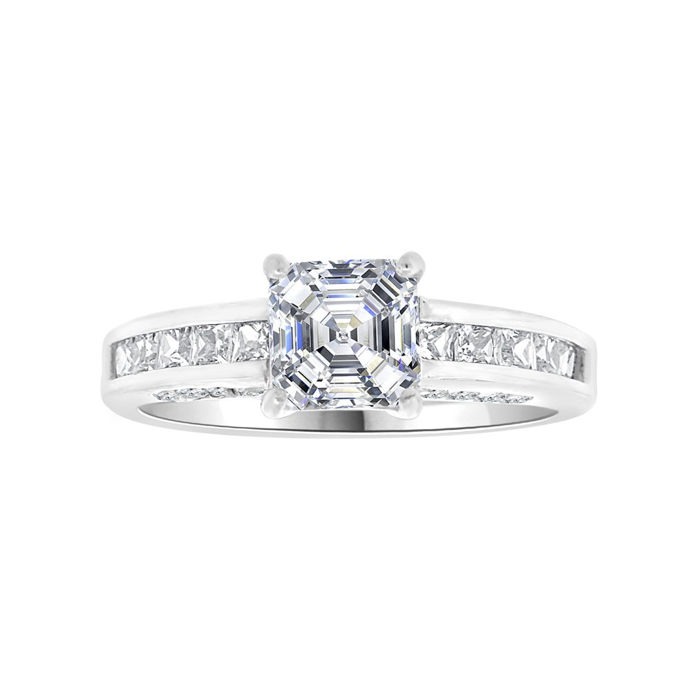 14k White Gold, Lady Wedding Ring Princess Created CZ Crystals 6mm 1.0ct Size 7